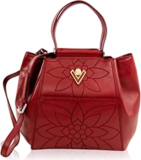 Valentino Orlandi Women's Large Handbag Tote Italian Designer Purse Cinnamon Red Genuine Leather Top Handle Crossbody Bag Satchel in Floral Embroidery Design