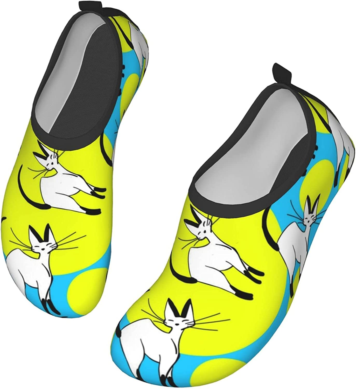 Charming Hand Drawn Cats Design Men's Women's Water Shoes Barefoot Quick Dry Slip-on Aqua Socks for Yoga Beach Sports Swim surf
