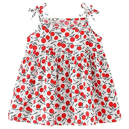 amropi Pack de 3 Vestidos sin Mangas para Bebé Niña Algodón Floral Casual Vestido Naranja Rojo Blanco,0-6 Meses