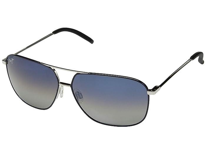 Maui Jim  Kami (Silver/Navy Blue/Dual Mirror(Blue to Silver over Neutral Grey)) Sport Sunglasses