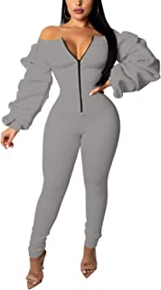 Womens Sexy Off The Shoulder Jumpsuits Bodycon Ruffled Long Sleeve Front Zipper Long Pants Rompers Clubwear Outfits