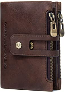 Wallet for Men with Zipper Slim - Mens Brown Leather Trifold Wallet - Money Clip Wallets for Men with ID Window - Includin...