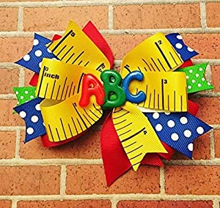 School bow - kindergarten - first day of school - ABC - Polka dot - girls hairbow - hair bow - Back to School - Colorful Bow - ruler bow - polka dot bow - red bow - kindergarten rocks