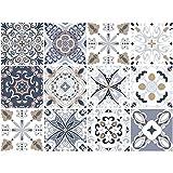decalmile 12 Piezas Pegatinas de Azulejos 15x15cm Gris y Beige Marroquí Adhesivo Decorativo para Azulejos Cocina Baño Decoración