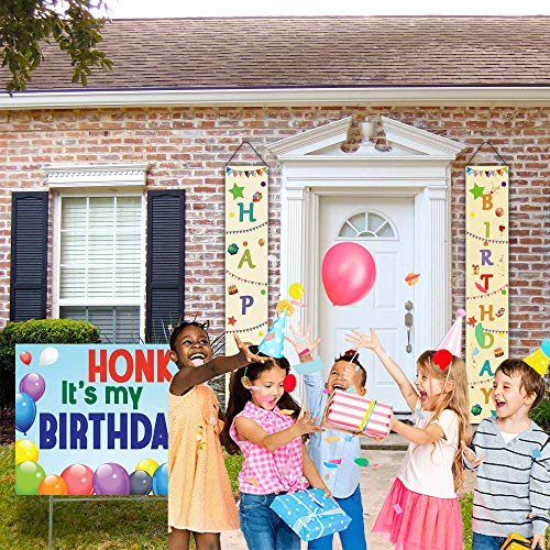 PartyLab HONK It's My Birthday Yard Sign with Stake | 12x72 Large Fabric Hanging Happy Birthday Banners Included | Water Resistant Indoor Outdoor Lawn Decorations| 23x17 Birthday Yard Sign with Stake