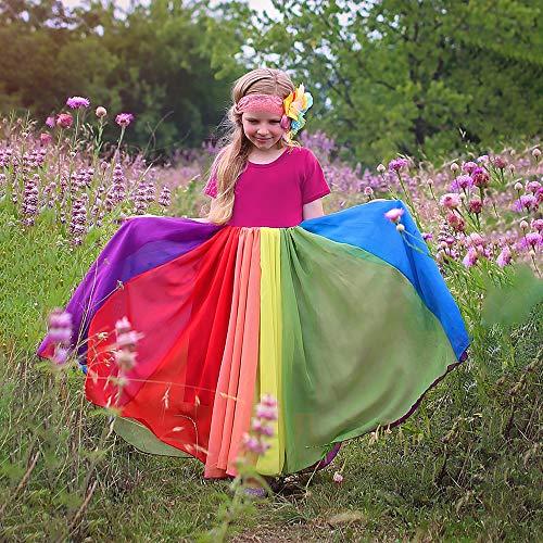 Decdeal Baby Kleid Mädchen Sommer Regenbogenkleid Party Hochzeit Prinzessin Kleider Einteiliges Design
