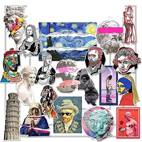 LSPLSP Vintage Literario de la onda de vapor arte pintura al óleo escultura etiqueta de ordenador portátil decorativo pasta de equipaje 16 piezas
