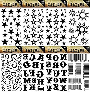 GGSELL GGSELL 8pcs different temporary tattoos designs in one package, it including stars,suns,26 English letters and barcode tattoo stickers