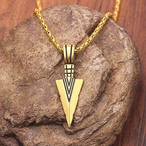 Yiffshunl Necklaces Men S Jewelry Gold Silver Black Arrow Head Pendant 60Cm Necklace Vintage Men Women Jewelry-Gold Color Pendant Necklace for Women Men