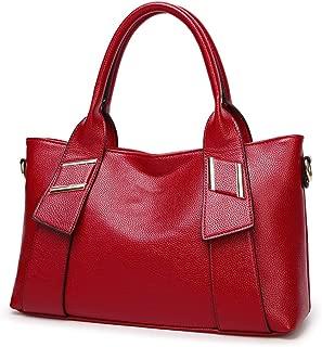 Fashion Women's European & American Fashion Solid Color Lychee Soft Leather Zipper Shoulder Bag Messenger Bag Handbag Crossbody Bag (Color : Red)