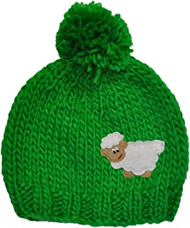 Knitted Beanie Hat For Kids With Bobble and Embroidered Sheep, Green Colour