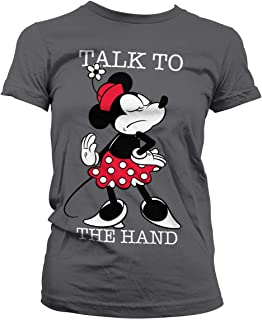 Licenciado Oficialmente Minnie Mouse - Talk To The Hand Mujer Camiseta (Gris Oscuro)
