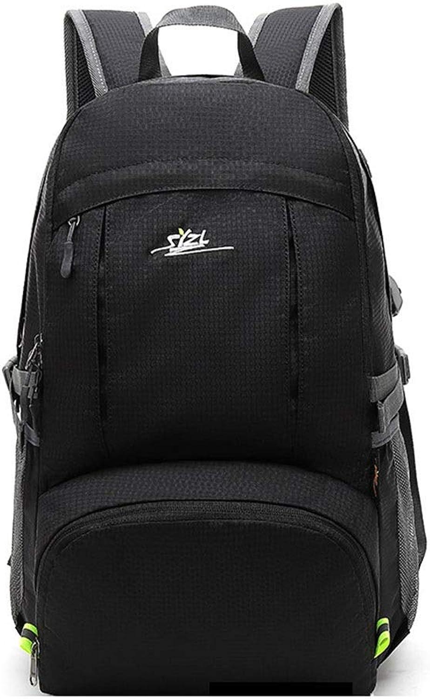 Hiking Backpack, 38L Lightweight Waterproof Folding Hiking Camping Backpack (color   Black)