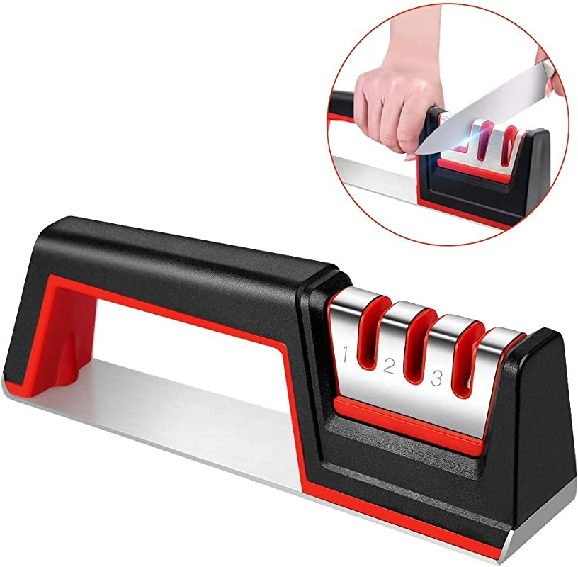Knife Sharpener Professional Kitchen Knife Sharpener With 3 Stage For Straight And Serrate Knives Diamond Tungsten Steel And Ceramic Rod Helps Restore And Polish Blades