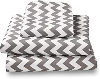 Where the Polka Dots Roam XL Twin Gray Chevron Sheet Set Soft Microfiber Sheets for Deep Mattresses