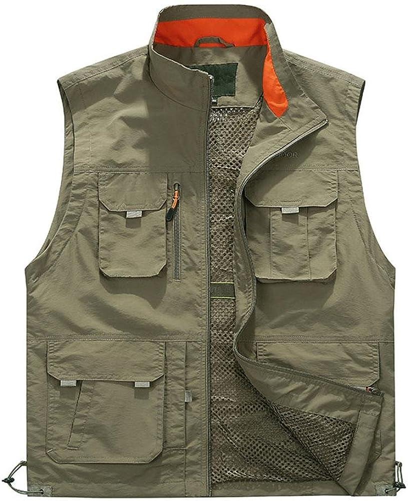 YANXH Mens Multi Pockets Gilet Outdoor Multifunction Photography Traveling Vest, Khaki, XL