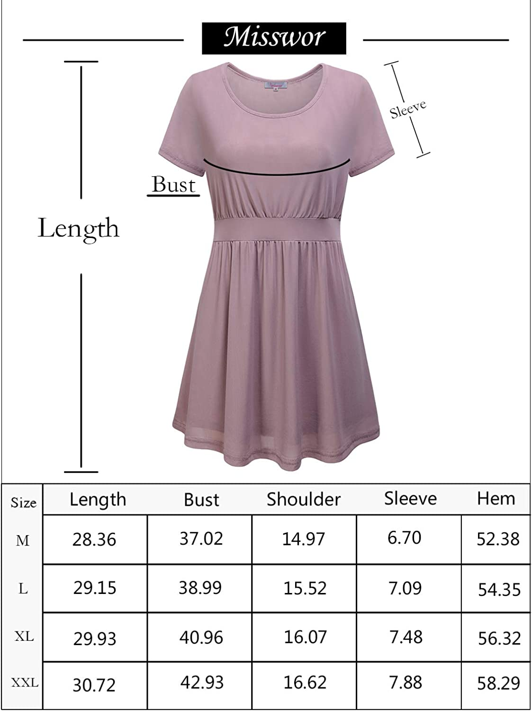 Misswor Women's Casual Tie Belt Blouses Top Double Layers Tunic Dress