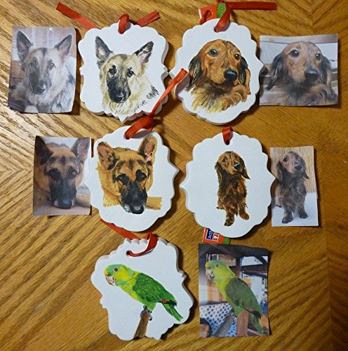 German Shepherd Pet Portrait Memorial Ornament Hand Painted and Made to Order by Shannon Ivins