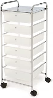Seville Classics WEB490 6-Drawer Storage Bin Cart, White