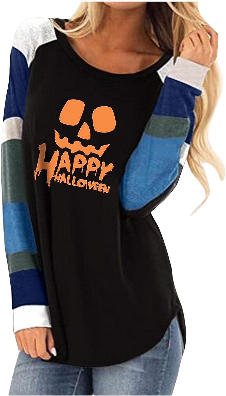 AODONG Halloween Costumes for Women Colorblock Vintage Halloween Print Crewneck Shirts Long Sleeve T-Shirts Casual Tops