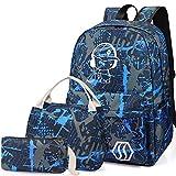 Schultasche Kinder 3-in-1 Büchertaschen-Set, Junlion Musik Junge Laptop Rucksack Lunch Tasche Mäppchen Geschenk für Teen Jungs