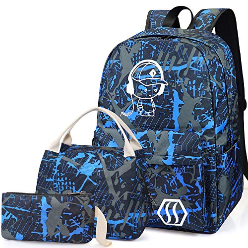 School Bag Kids 3-in-1 Bookbag Set, Junlion Music Boy Laptop Backpack Lunch Bag Pencil Case Gift for Teen Boys