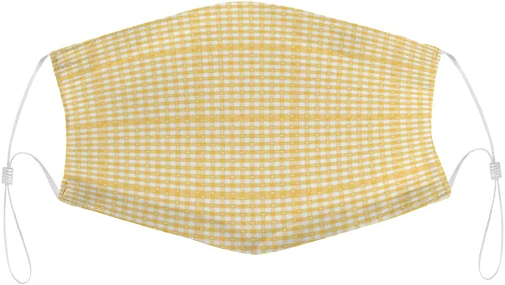 Roupaze Unisex Face Masks Vintage Yellow Gingham Pattern with Bicolor Checkered Squares with Heart Motifs Mustard and White Windproof Face Mouth Cover Balaclavas for Adult with Inner Pocket 1PCS