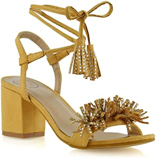 Womens Lace Up Mid Heeled Sandals Fringe Diamante Strappy Shoes