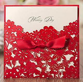 Krismile® 12 Red Elegant Handmade Laser Cut Chinese Wedding Invitation Card Printable