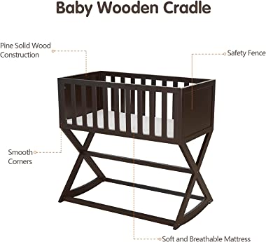 Kinsuite Baby Wooden Cradle, Bedside Crib Shaker, with Mattress, Brake Stabilizer to Control Rocking and Static Motion, Handm