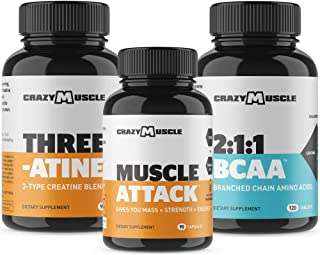 Bundle for Building Bulk Muscle (3 Products Included) by Crazy Muscle - Creatine + Muscle Attack + BCAA