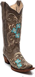 Corral Circle G Boot Women's 12-inch Distressed Leather Floral Embroidery Snip Toe Brown/Turquoise Western Boot