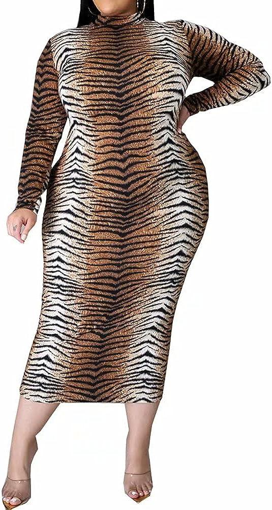 Womens Sexy Floral Print Bodycon Long Maxi Pencil Dress Long Sleeve Plus Size Clubwear