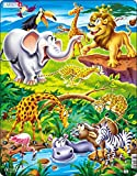 Larsen US16 El Rey león observa los Animales Salvajes de la Sabana, Puzzle de Marco con 18 Piezas
