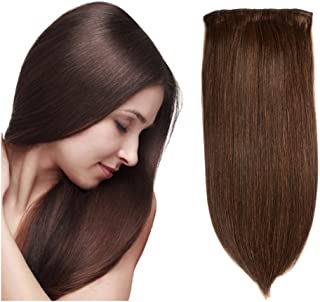 Friskylov Hair Remy Hair Extensions Double Weft Clip in Human Hair 24Inch Virgin Hair 8A Grade 100g/3.52oz 7Pieces With 16Clips (24Inch, 2 Dark Brown)
