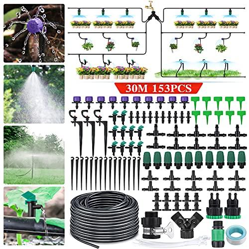 king do way 30m Bewässerungssystem Garten, 153Pcs Bewässerung Kit, Mikro Drip Bewässerungssets, Automatischer Tröpfchenbewässerung, für Garten, Gewächshaus, Blumenbeete, Obstbäume, Zimmerpflanzen
