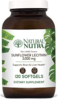 Natural Nutra Sunflower Lecithin 2000 mg, Phosphatidyl Choline, Non-GMO, Soy Free, Gluten Free, Premium Quality, Recyclable Glass Bottles, 120 Softgels
