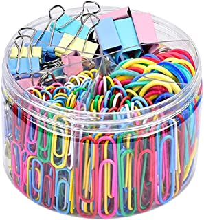 ELECDON 240 PCS Combination Office Supplies, Binder Clips, Color Office Clips Set with Paper Clips, Color Clips, Rubber Ba...