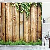 ABAKUHAUS Rústico Cortina de Baño, Cerca de Madera del jardín, Material Resistente al Agua Durable Estampa Digital, 175 x 200 cm, Verde marrón