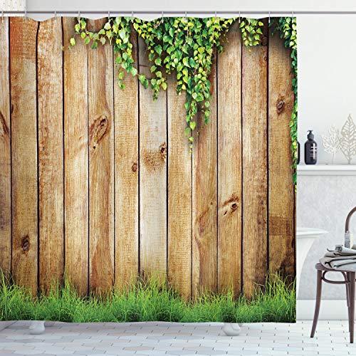 ABAKUHAUS Rustique Rideau de Douche, Clôture de Jardin en Bois, Tissu Ensemble de Décor de Salle de Bain avec Crochets, 175 cm x 200 cm, Marron Vert