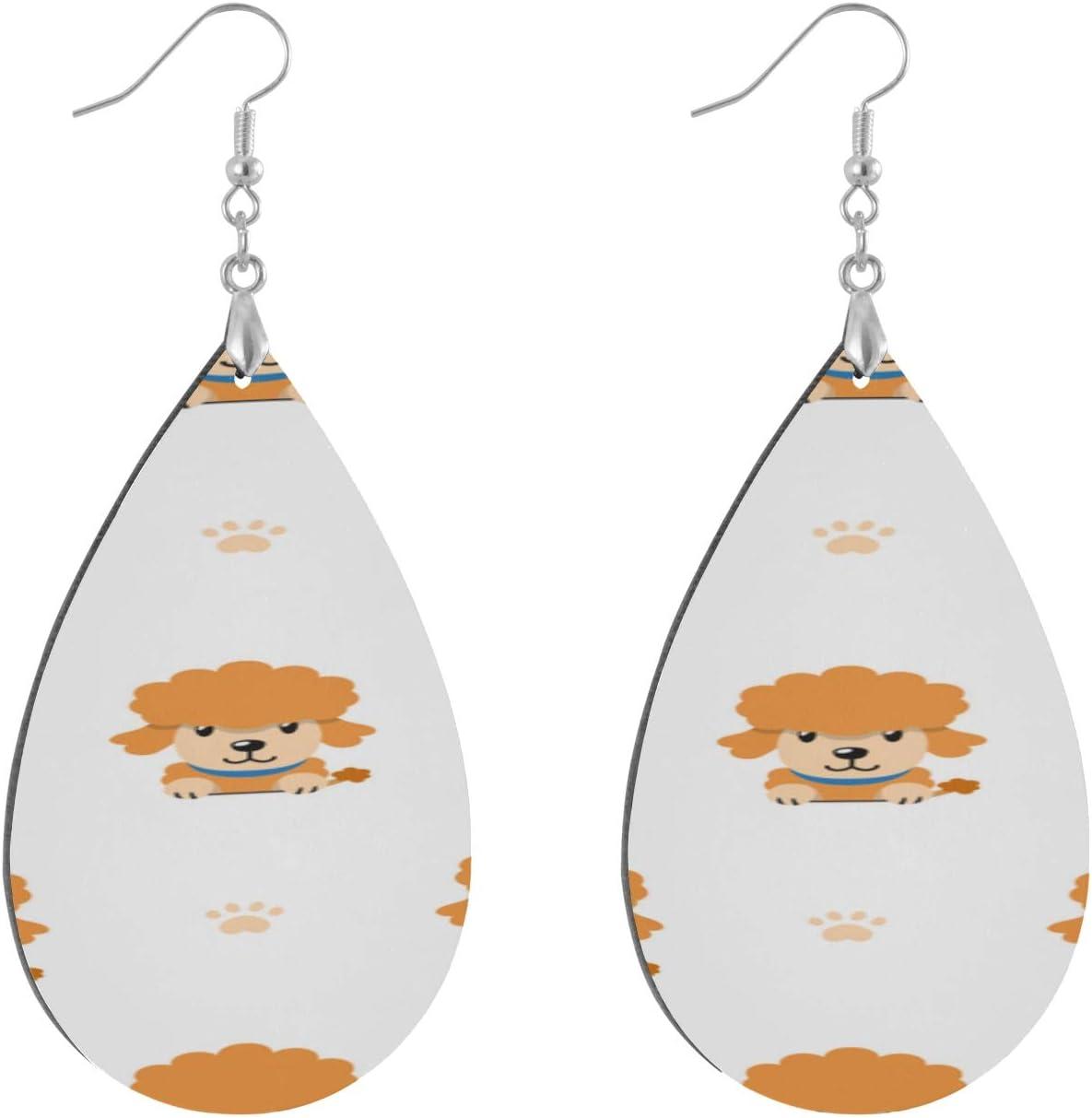 HRRPS Teardrop Earring Round Circle Earring Dangle Earings Lightweight Cartoon Character Poodle Dog Wooden Earrings Drop Dangle Earings Lightweight Beautiful and for Women Girls