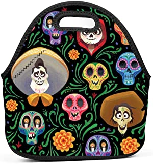 Neoprene Lunch Bag - Removable Shoulder Strap-Large Size Reusable Lunch Handbag, Coco Guitar Pattern Halloween Costumes Tote Waterproof Outdoor Case Lunchbox with Zipper for Womens Mens Boys Girls