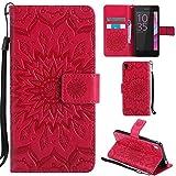 Ooboom® Sony Xperia E5 Funda Flip Cover Wallet Case Carcasa Cubierta Piel PU Billetera Soporte Plegable con Tarjetero para Sony Xperia E5 - Rojo