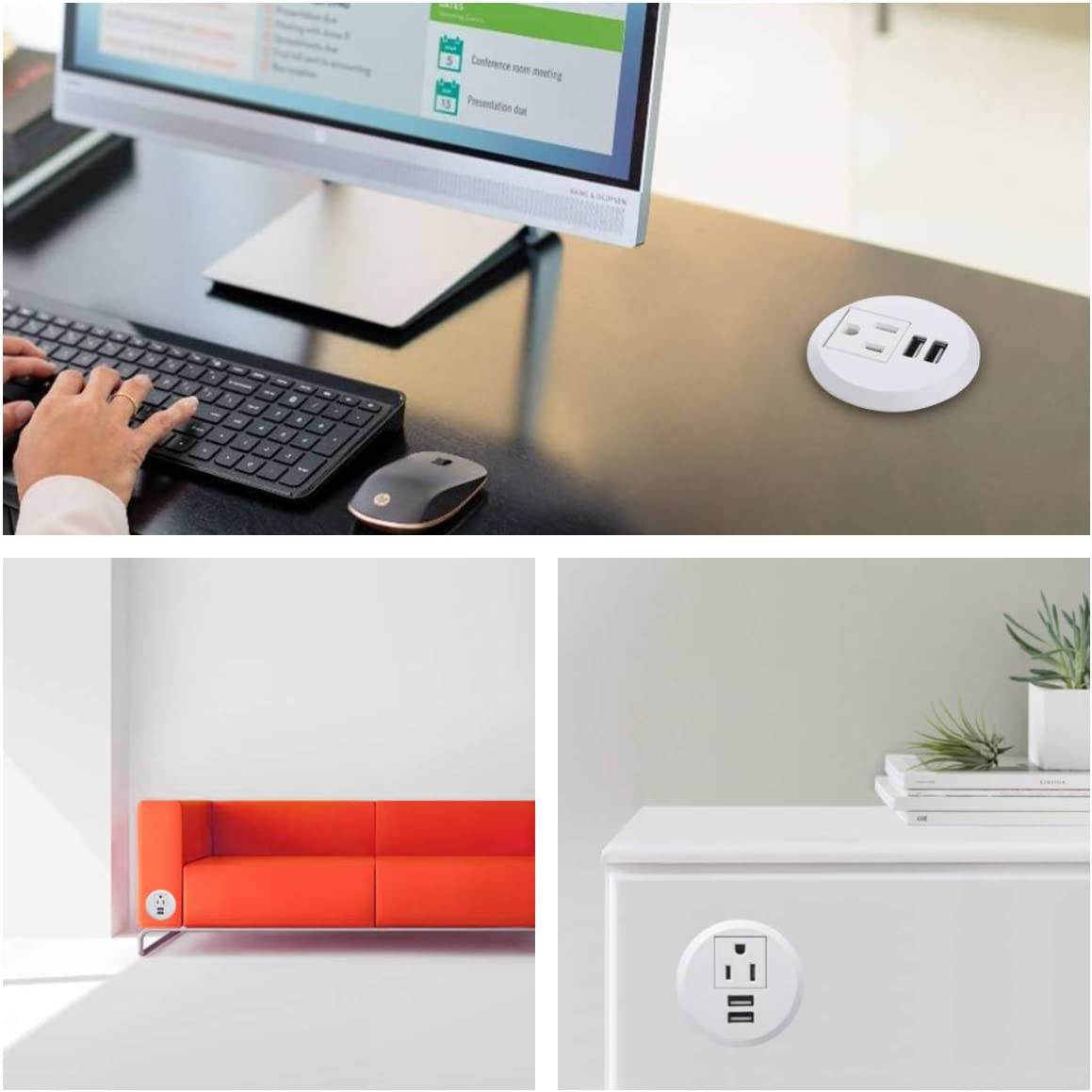 Maggie Desktop Power Grommet,2inch Hole Table Power Grommet Outlet with 2 USB Charging Ports,6.5ft Extension Cord Desk Power Strip with 1 Outlets for Computer,Table,Kitchen,Office,Home