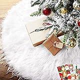 BEYAOBN 30inch Falda del árbol de Navidad,Piel sintética Faldas de árbol con 54 Pegatinas navideñas para Navidad Fiesta de año Nuevo Vacaciones en casa decoración(Blanco 78cm)