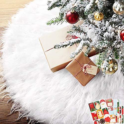 BEYAOBN 30inch Weihnachtsbaum-Rock, weißer Baumrock mit 54 PCS Geschenk-Aufklebern Weiß Baumdecke Tannenbaumdecke Christbaumständer Teppich Decke Weihnachten Deko Christmas Tree Skirt(Weiß,78cm)