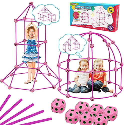 Upgraded Fort Building Kit, STEM Kids Toys for 4 5 6 7 8 9 Year Old Girls Building Toys Indoor Outdoor Toys for Kids DIY Castle Tunnel Christmas Halloween Birthday Gifts for Kids