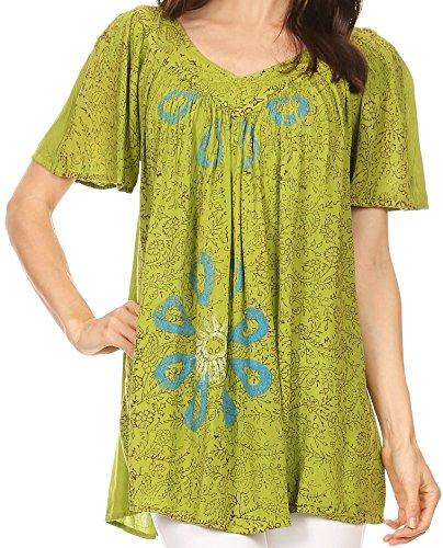 Sakkas S-4-82202 - Talulla Long V Neck Batik Floral Leaf Embroidered Printed Blouse Shirt Top - Green - OS