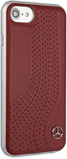 CG Mobile Mercedes Benz Real Leather Case for iPhone 8 and iPhone 7 Hard Cell Phone Cover Red Easy Snap-on Shock Absorption Cover Officially Licensed.