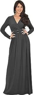 KOH KOH Womens Long Sleeve V-Neck Floor Length Elegant Wrap Waist Maxi Dress